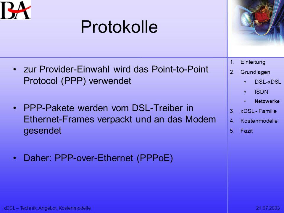 xDSL – Technik, Angebot, Kostenmodelle21.07.2003 Protokolle zur Provider-Einwahl wird das Point-to-Point Protocol (PPP) verwendet PPP-Pakete werden vo