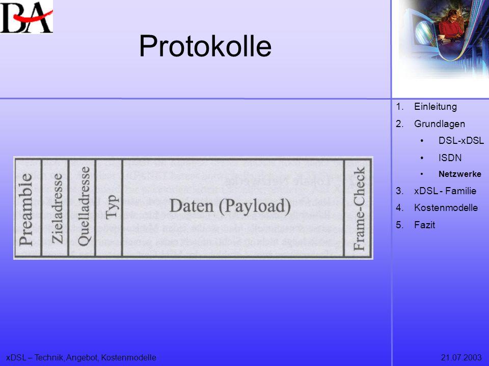 xDSL – Technik, Angebot, Kostenmodelle21.07.2003 Protokolle 1.Einleitung 2.Grundlagen DSL-xDSL ISDN Netzwerke 3.xDSL - Familie 4.Kostenmodelle 5.Fazit