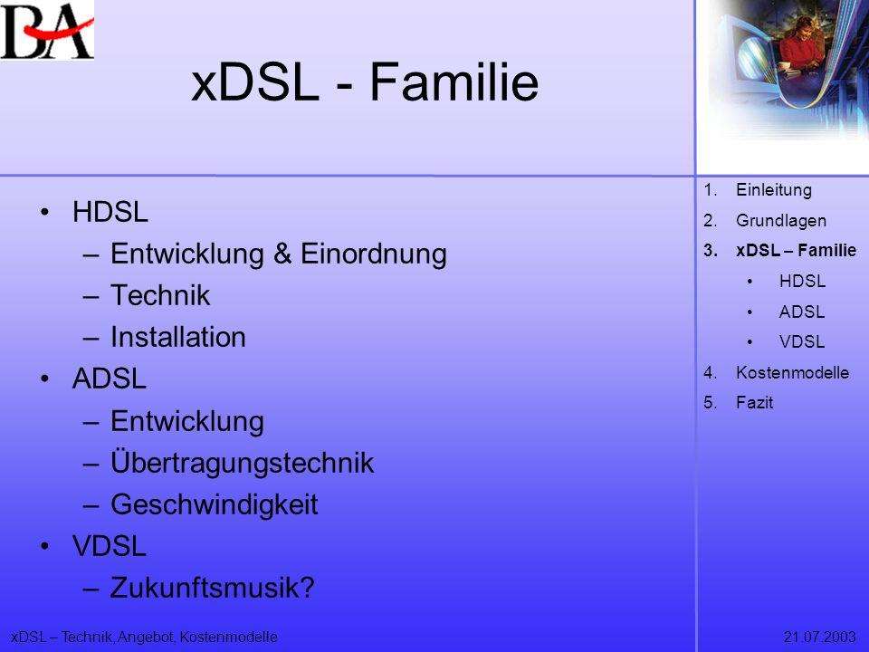 xDSL – Technik, Angebot, Kostenmodelle21.07.2003 xDSL - Familie HDSL –Entwicklung & Einordnung –Technik –Installation ADSL –Entwicklung –Übertragungst