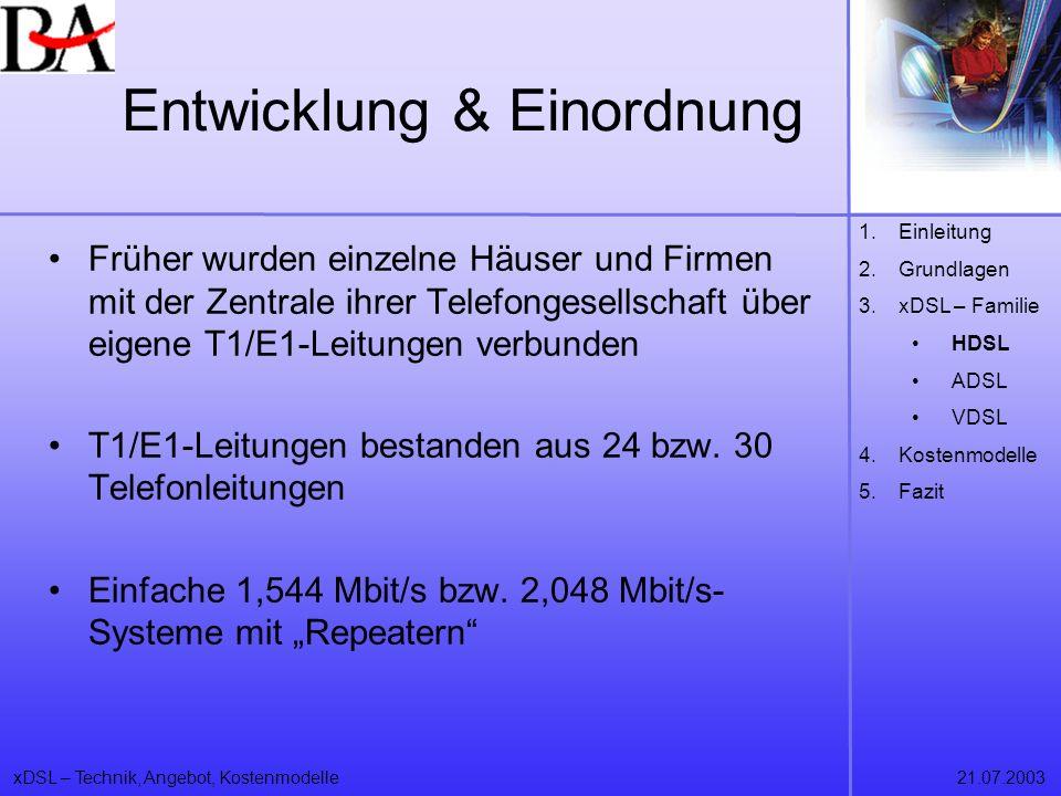 xDSL – Technik, Angebot, Kostenmodelle21.07.2003 Entwicklung & Einordnung Früher wurden einzelne Häuser und Firmen mit der Zentrale ihrer Telefongesel