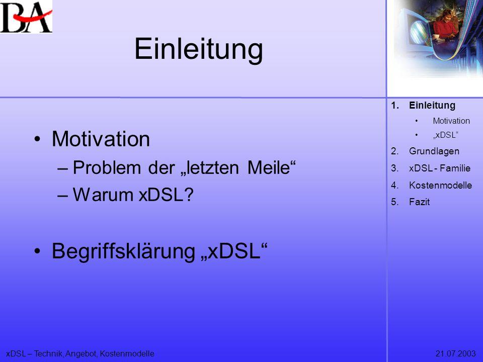xDSL – Technik, Angebot, Kostenmodelle21.07.2003 Motivation Internetmärkte und –technologien wachsen unaufhörlich eBay, eCommerce, eBusiness letzte Meile als Flaschenhals 1.Einleitung Motivation xDSL 2.Grundlagen 3.xDSL - Familie 4.Kostenmodelle 5.Fazit
