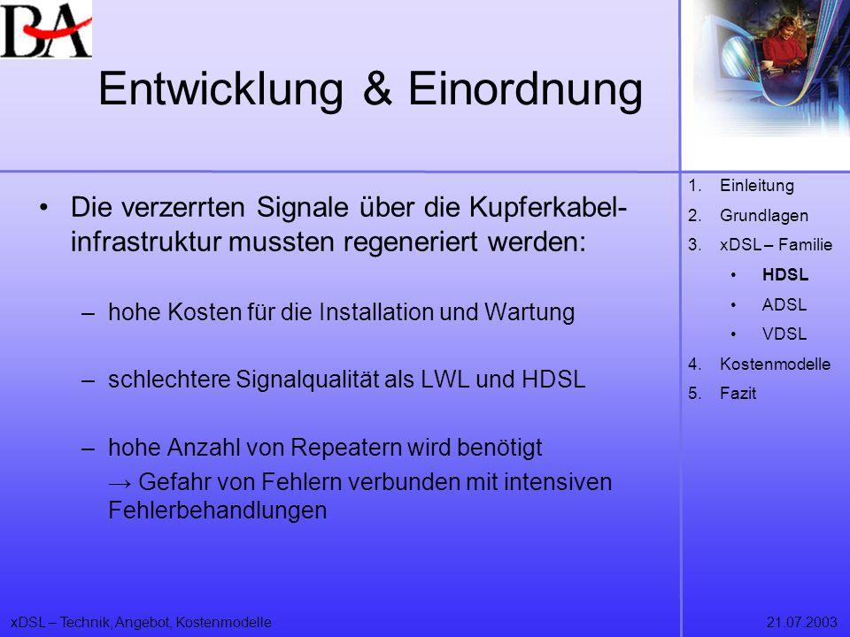xDSL – Technik, Angebot, Kostenmodelle21.07.2003 Die verzerrten Signale über die Kupferkabel- infrastruktur mussten regeneriert werden: –hohe Kosten f