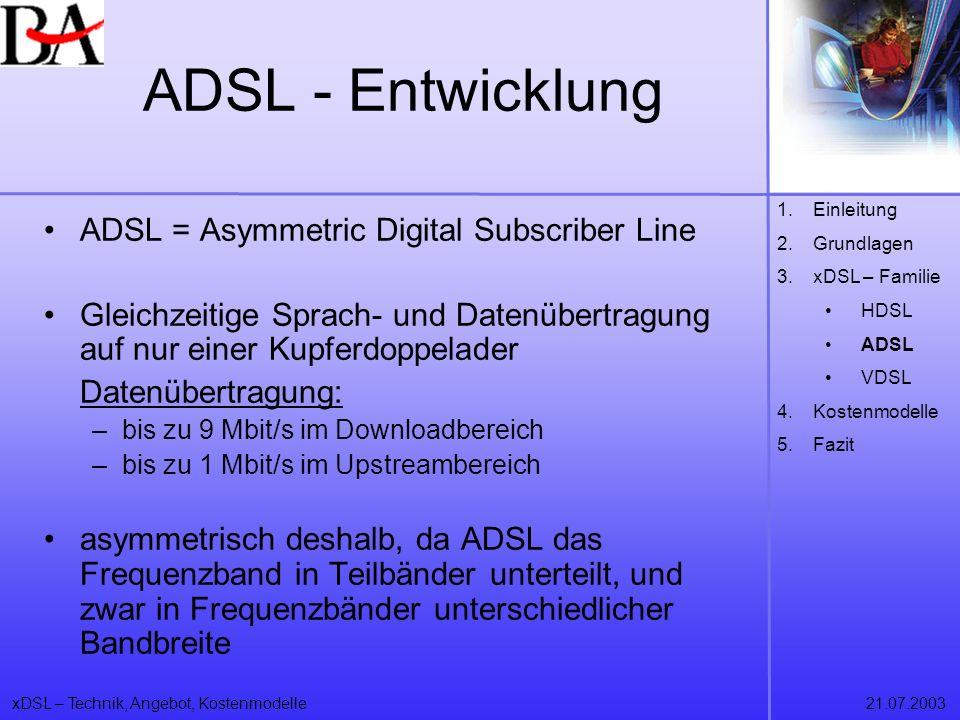 xDSL – Technik, Angebot, Kostenmodelle21.07.2003 ADSL - Entwicklung ADSL = Asymmetric Digital Subscriber Line Gleichzeitige Sprach- und Datenübertragu
