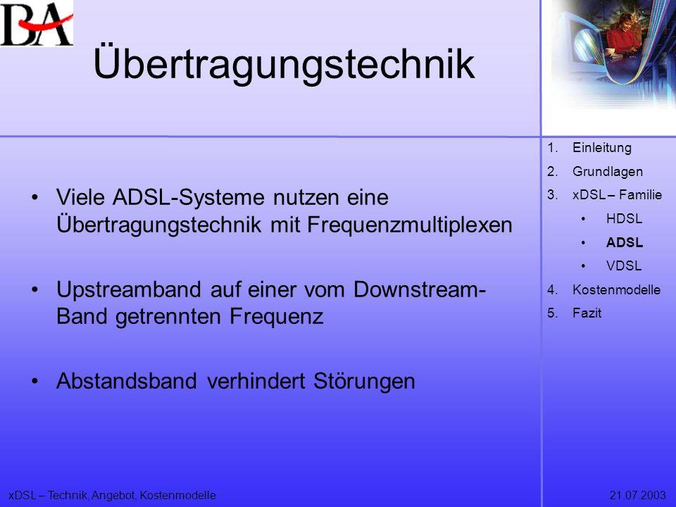 xDSL – Technik, Angebot, Kostenmodelle21.07.2003 Übertragungstechnik Viele ADSL-Systeme nutzen eine Übertragungstechnik mit Frequenzmultiplexen Upstre