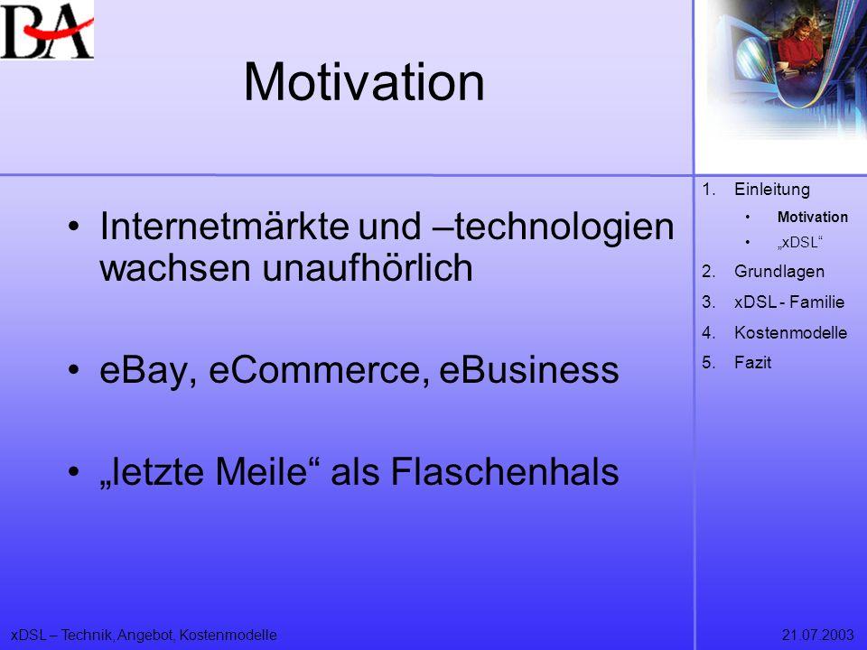 xDSL – Technik, Angebot, Kostenmodelle21.07.2003 Motivation Internetmärkte und –technologien wachsen unaufhörlich eBay, eCommerce, eBusiness letzte Me