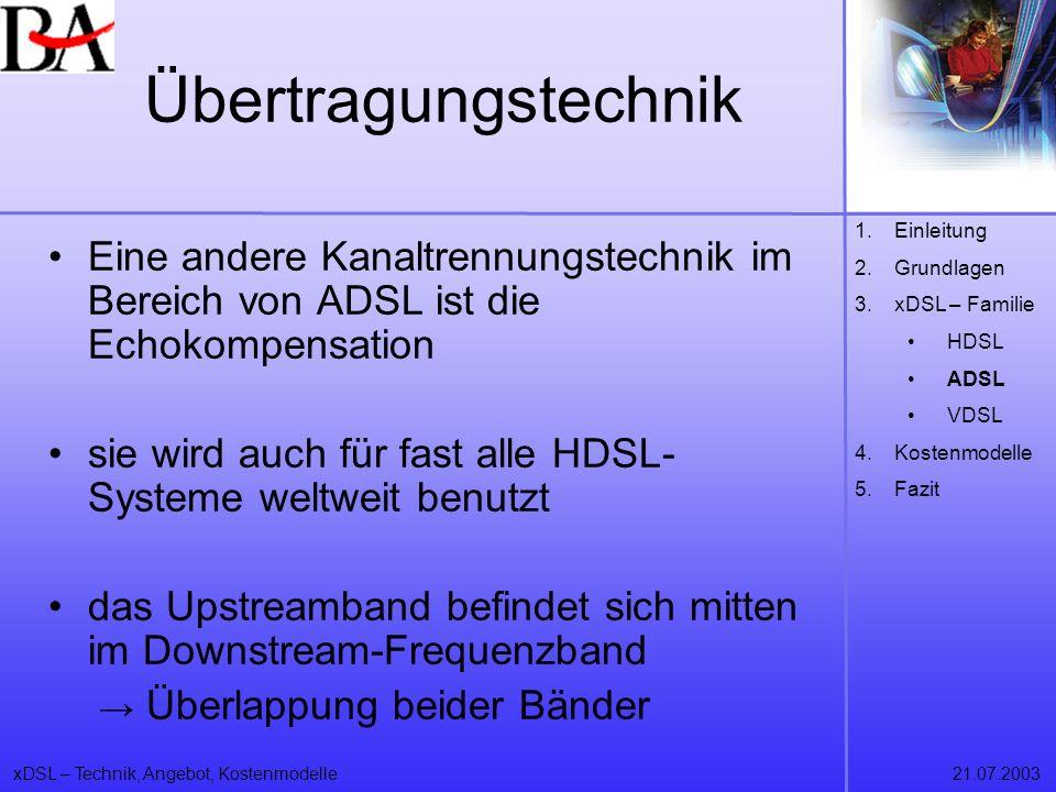 xDSL – Technik, Angebot, Kostenmodelle21.07.2003 Eine andere Kanaltrennungstechnik im Bereich von ADSL ist die Echokompensation sie wird auch für fast