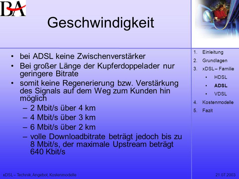 xDSL – Technik, Angebot, Kostenmodelle21.07.2003 Geschwindigkeit bei ADSL keine Zwischenverstärker Bei großer Länge der Kupferdoppelader nur geringere