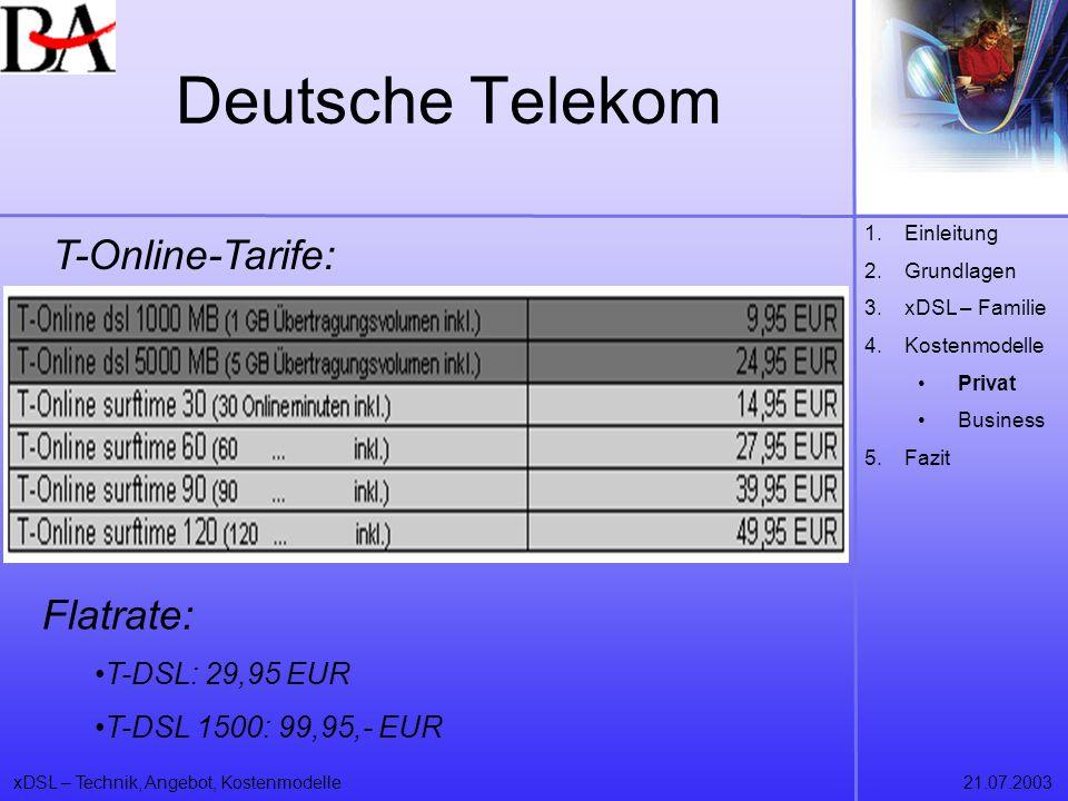 xDSL – Technik, Angebot, Kostenmodelle21.07.2003 Deutsche Telekom T-Online-Tarife: 1.Einleitung 2.Grundlagen 3.xDSL – Familie 4.Kostenmodelle Privat B