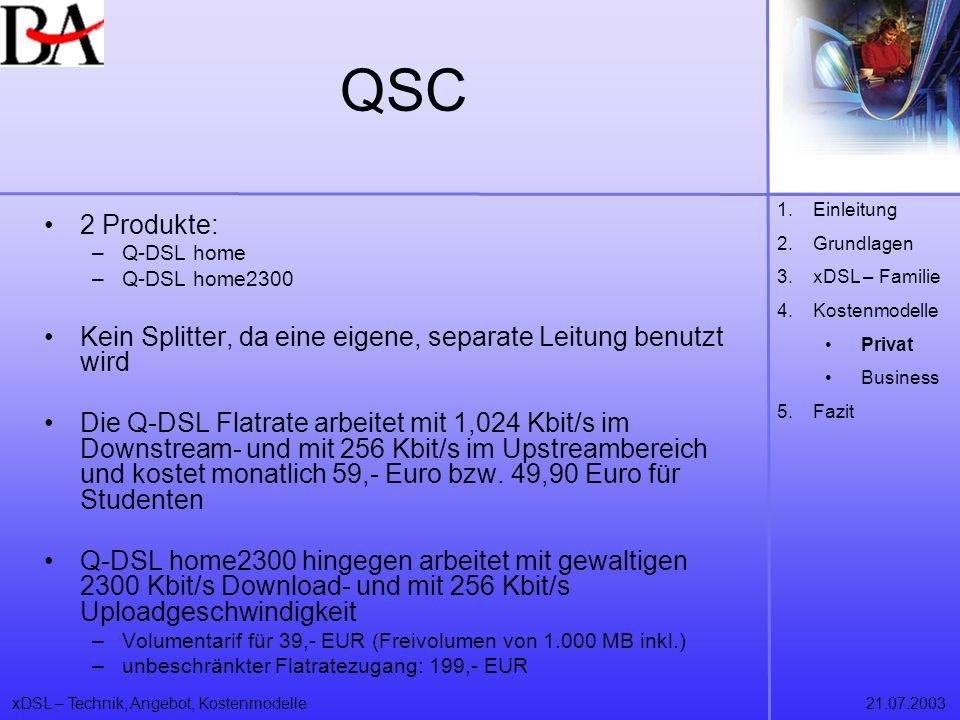 xDSL – Technik, Angebot, Kostenmodelle21.07.2003 QSC 2 Produkte: –Q-DSL home –Q-DSL home2300 Kein Splitter, da eine eigene, separate Leitung benutzt w