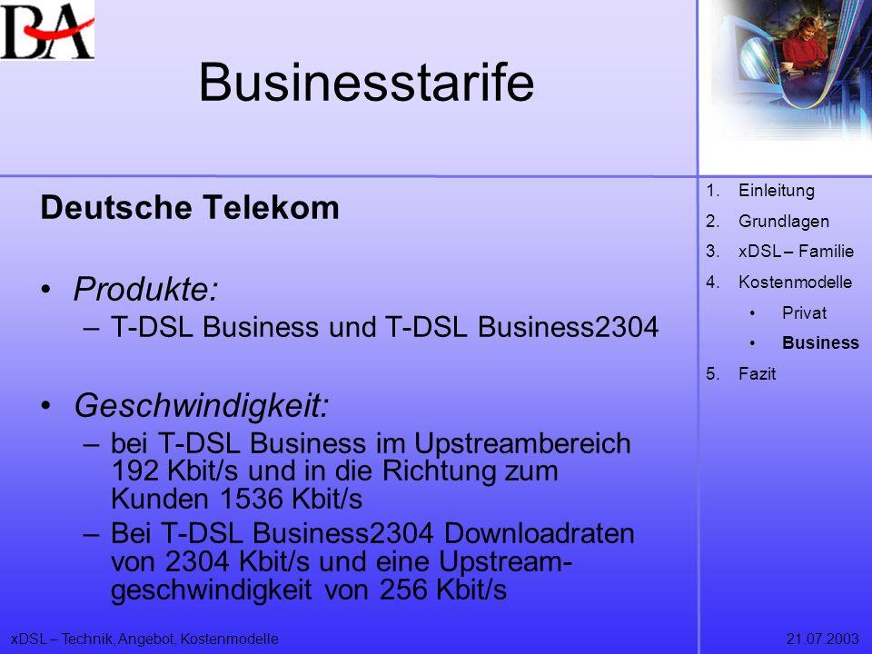 xDSL – Technik, Angebot, Kostenmodelle21.07.2003 Businesstarife 1.Einleitung 2.Grundlagen 3.xDSL – Familie 4.Kostenmodelle Privat Business 5.Fazit Deu