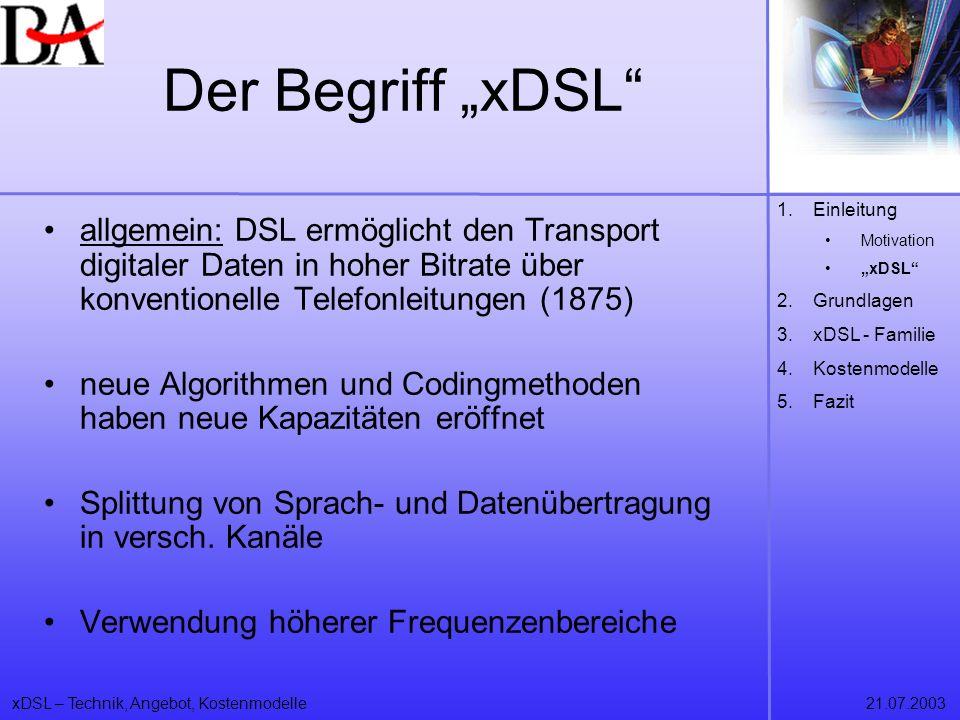 xDSL – Technik, Angebot, Kostenmodelle21.07.2003 Privatkundentarife Deutsche Telekom Produkte: –T-DSL und T-DSL 1500 Geschwindigkeit: –bei T-DSL im Upstreambereich 128 Kbit/s und in die Richtung zum Kunden 768 Kbit/s –Bei T-DSL 1500 Downloadraten von 1536 Kbit/s und eine Upstreamgeschwindigkeit von 192 Kbit/s 1.Einleitung 2.Grundlagen 3.xDSL – Familie 4.Kostenmodelle Privat Business 5.Fazit