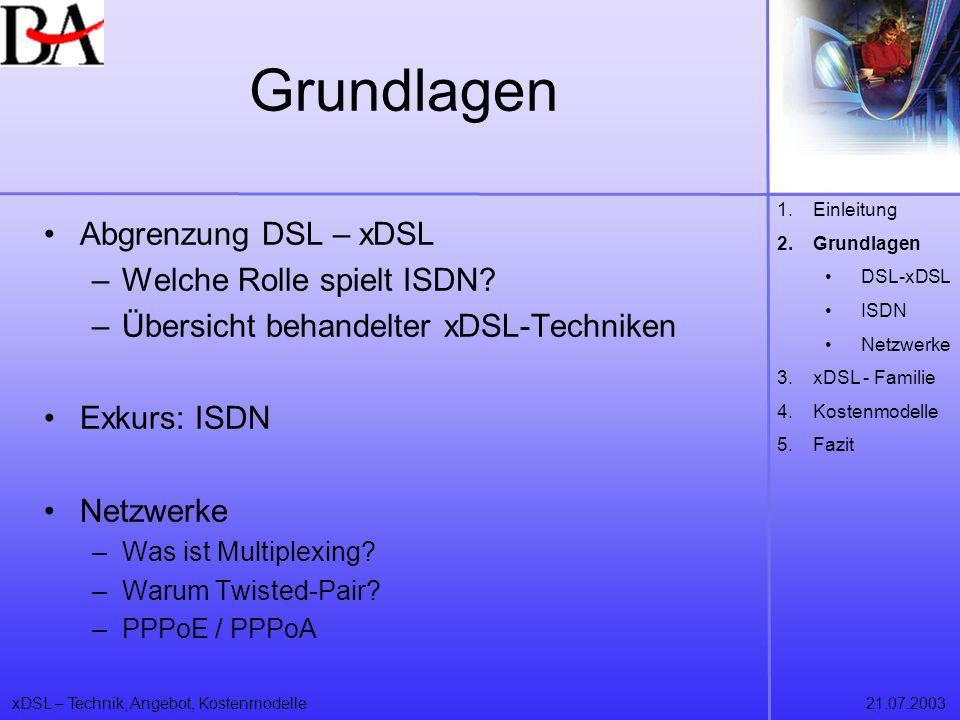 xDSL – Technik, Angebot, Kostenmodelle21.07.2003 Abgrenzung DSL - xDSL ISDN als Mutter aller DSL-Techniken xDSL als Zugang zu breitbandigen Internettechnologien (ADSL, IDSL, RADSL, SDSL, HDSL, VDSL, CDSL und SHDSL) jedoch nur ADSL, HDSL, SDSL und VDSL in der Standardisierung 1.Einleitung 2.Grundlagen DSL-xDSL ISDN Netzwerke 3.xDSL - Familie 4.Kostenmodelle 5.Fazit