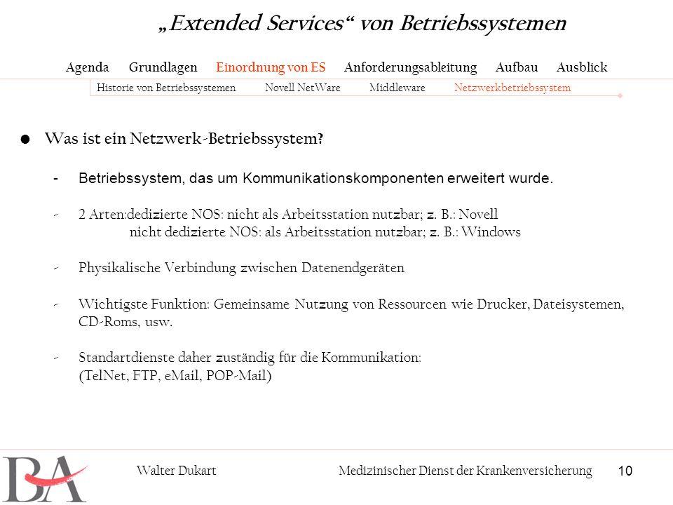 10 Walter DukartMedizinischer Dienst der Krankenversicherung Was ist ein Netzwerk-Betriebssystem? -Betriebssystem, das um Kommunikationskomponenten er