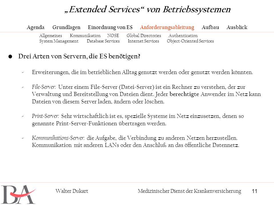 11 Walter DukartMedizinischer Dienst der Krankenversicherung Drei Arten von Servern, die ES benötigen? -Erweiterungen, die im betrieblichen Alltag gen