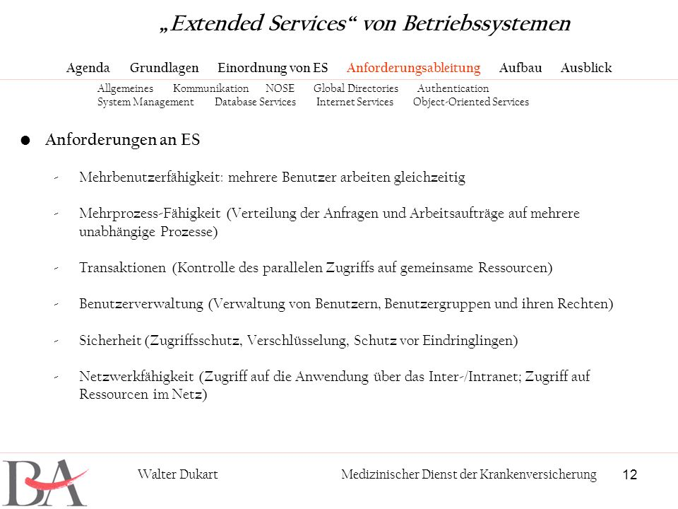 12 Walter DukartMedizinischer Dienst der Krankenversicherung Anforderungen an ES -Mehrbenutzerfähigkeit: mehrere Benutzer arbeiten gleichzeitig -Mehrp