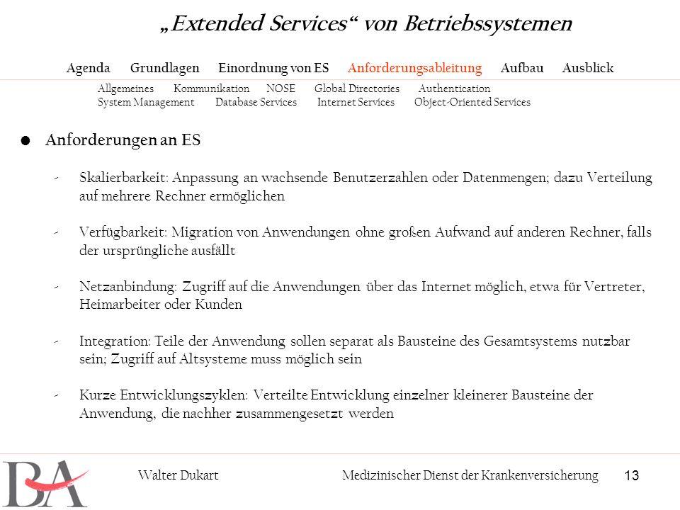 13 Walter DukartMedizinischer Dienst der Krankenversicherung Anforderungen an ES -Skalierbarkeit: Anpassung an wachsende Benutzerzahlen oder Datenmeng