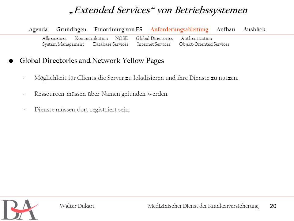 20 Walter DukartMedizinischer Dienst der Krankenversicherung Global Directories and Network Yellow Pages -Möglichkeit für Clients die Server zu lokali