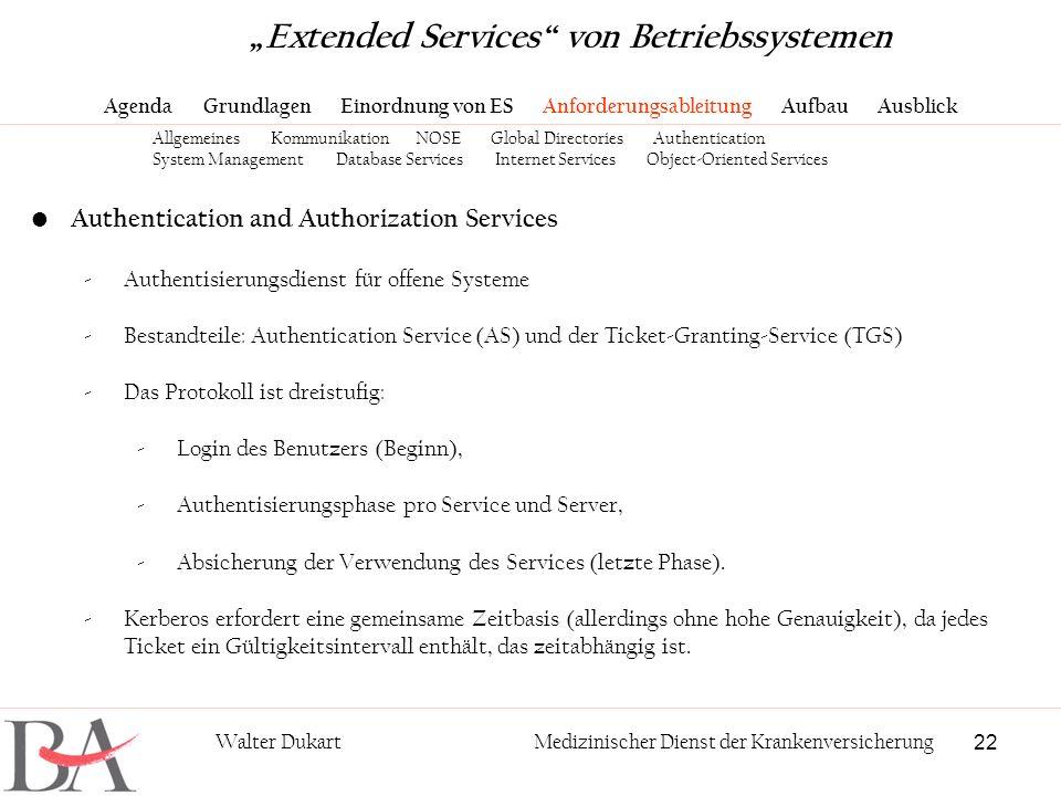 22 Walter DukartMedizinischer Dienst der Krankenversicherung Authentication and Authorization Services -Authentisierungsdienst für offene Systeme -Bes