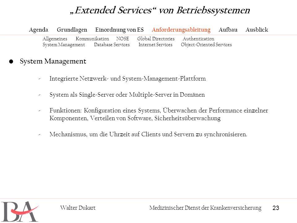 23 Walter DukartMedizinischer Dienst der Krankenversicherung System Management -Integrierte Netzwerk- und System-Management-Plattform -System als Sing