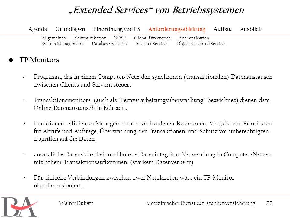 25 Walter DukartMedizinischer Dienst der Krankenversicherung TP Monitors -Programm, das in einem Computer-Netz den synchronen (transaktionalen) Datena
