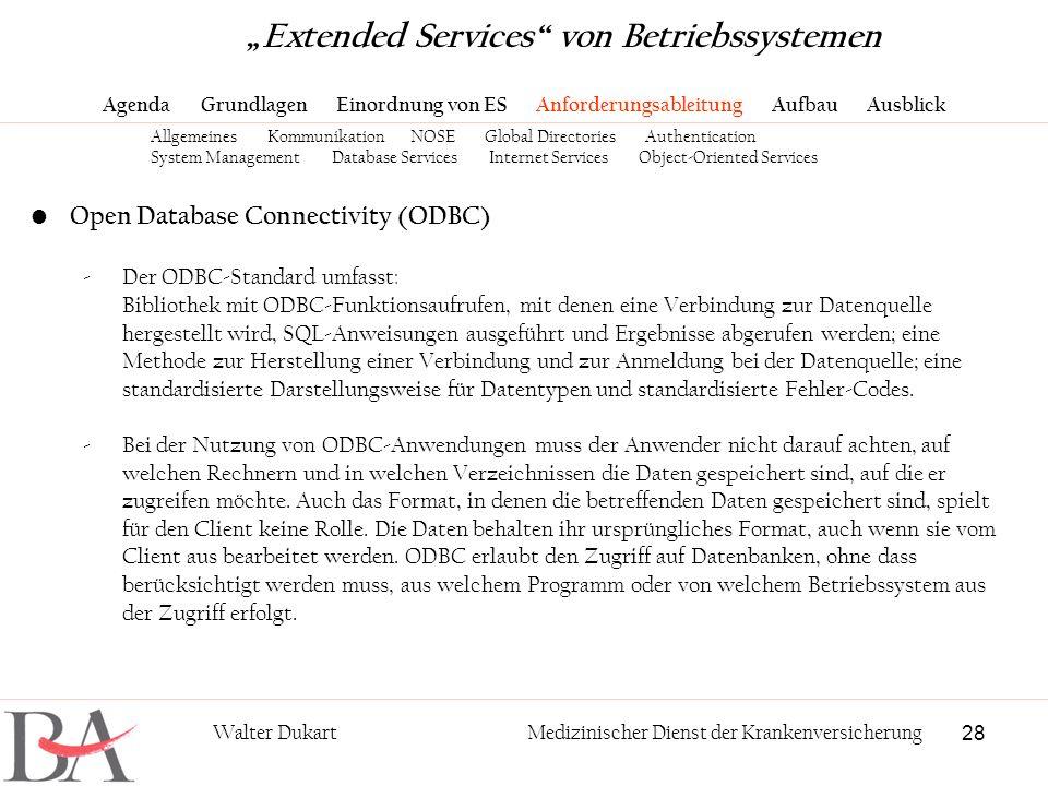 28 Walter DukartMedizinischer Dienst der Krankenversicherung Open Database Connectivity (ODBC) -Der ODBC-Standard umfasst: Bibliothek mit ODBC-Funktio