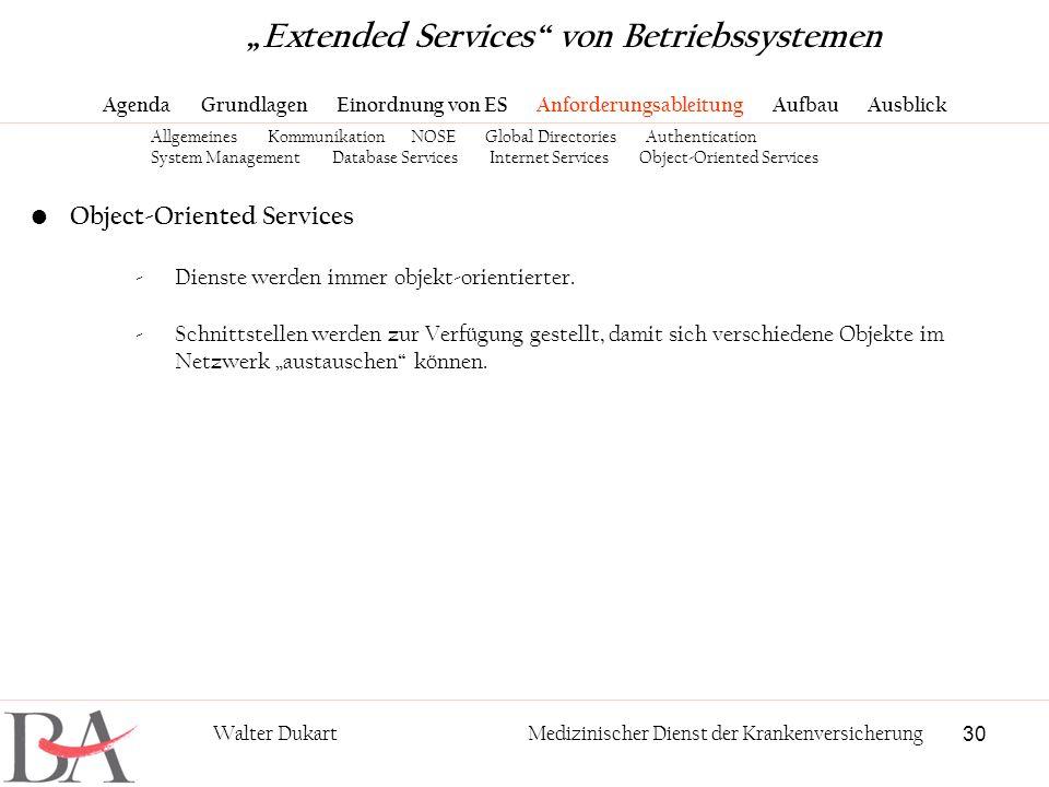30 Walter DukartMedizinischer Dienst der Krankenversicherung Object-Oriented Services -Dienste werden immer objekt-orientierter. -Schnittstellen werde