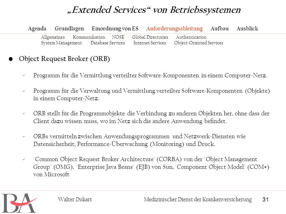 31 Walter DukartMedizinischer Dienst der Krankenversicherung Object Request Broker (ORB) -Programm für die Vermittlung verteilter Software-Komponenten