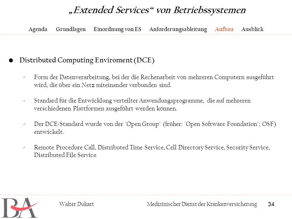 34 Walter DukartMedizinischer Dienst der Krankenversicherung Distributed Computing Enviroment (DCE) -Form der Datenverarbeitung, bei der die Rechenarb