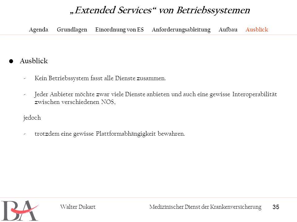 35 Walter DukartMedizinischer Dienst der Krankenversicherung Extended Services von Betriebssystemen Agenda Grundlagen Einordnung von ES Anforderungsab