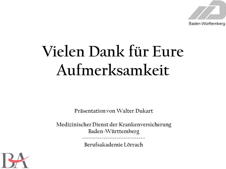 Präsentation von Walter Dukart Medizinischer Dienst der Krankenversicherung Baden-Württemberg ----------------------------- Berufsakademie Lörrach Vie