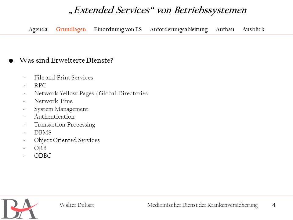 4 Walter DukartMedizinischer Dienst der Krankenversicherung Was sind Erweiterte Dienste? -File and Print Services -RPC -Network Yellow Pages / Global