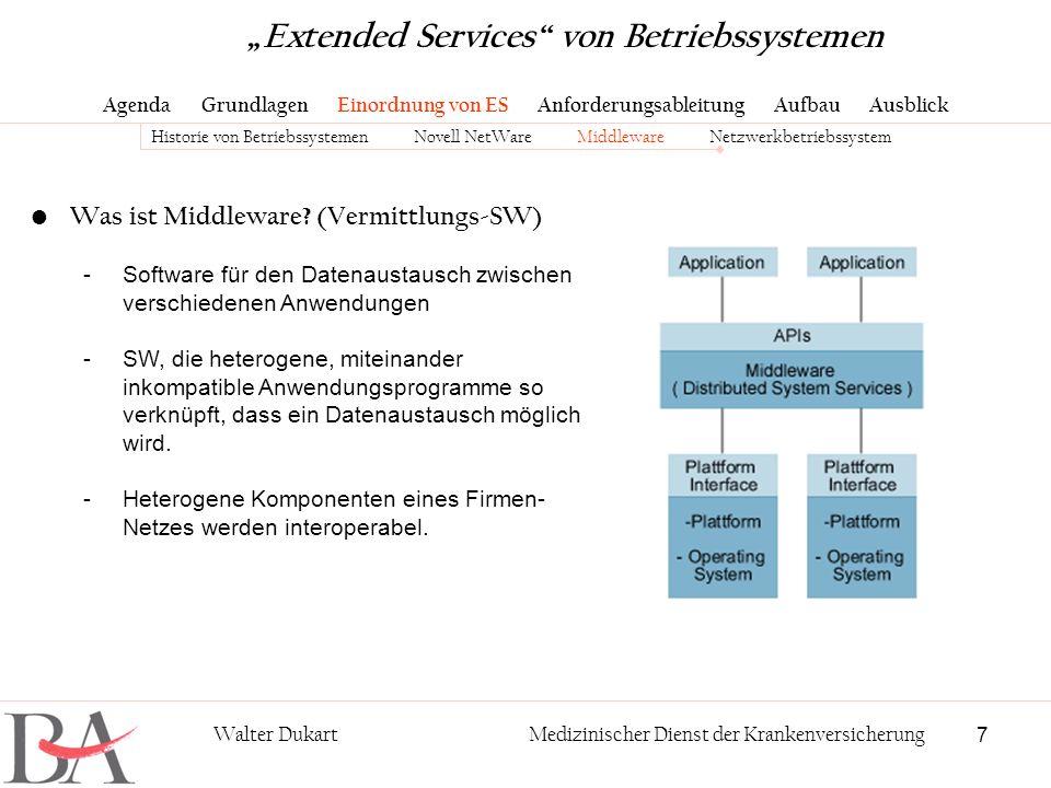7 Walter DukartMedizinischer Dienst der Krankenversicherung Was ist Middleware? (Vermittlungs-SW) -Software für den Datenaustausch zwischen verschiede
