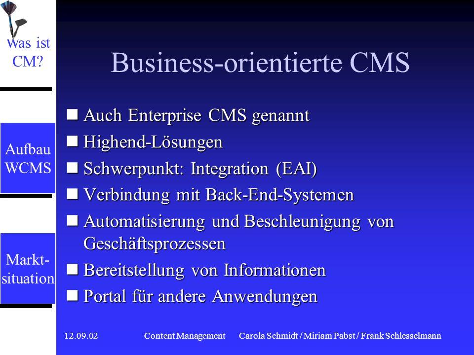 12.09.02 Content ManagementCarola Schmidt / Miriam Pabst / Frank Schlesselmann Groupware Erstellen und Nutzen von Content, aber nicht publizieren Erstellen und Nutzen von Content, aber nicht publizieren Akzeptanzvorteil, bei der Einführung von CMS Akzeptanzvorteil, bei der Einführung von CMS Was ist CM.