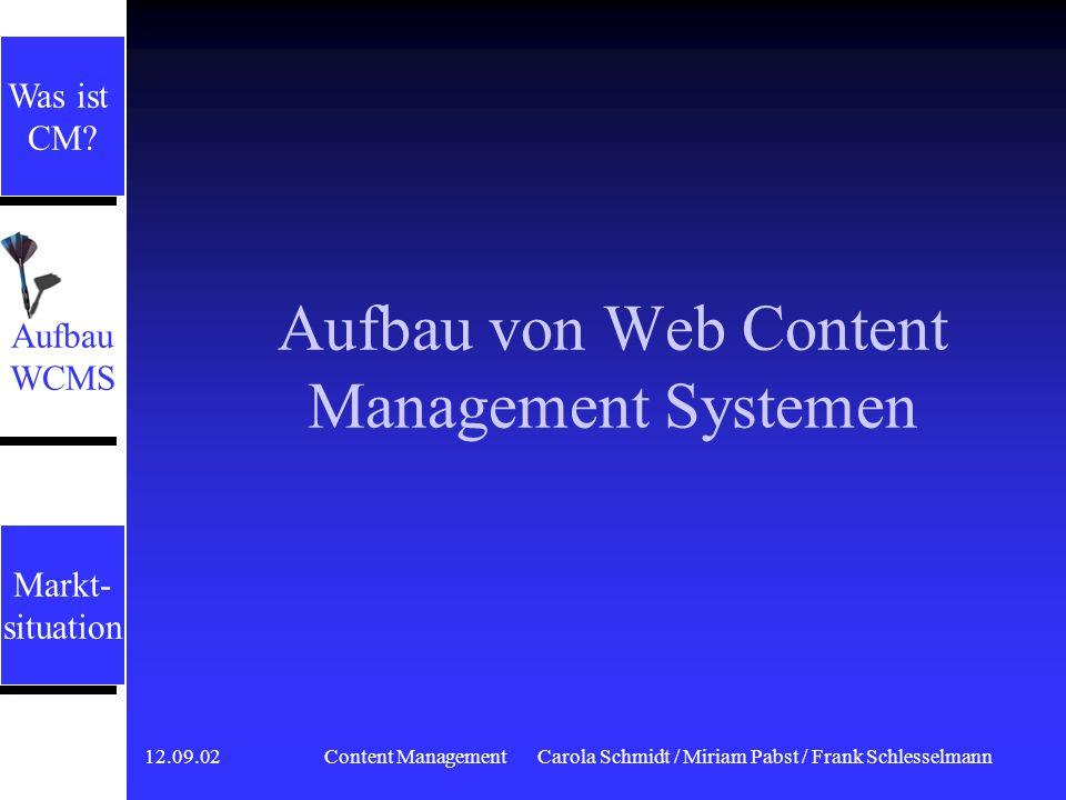 12.09.02 Content ManagementCarola Schmidt / Miriam Pabst / Frank Schlesselmann Publish-orientierte CMS Redaktionssysteme Redaktionssysteme begrenzt te