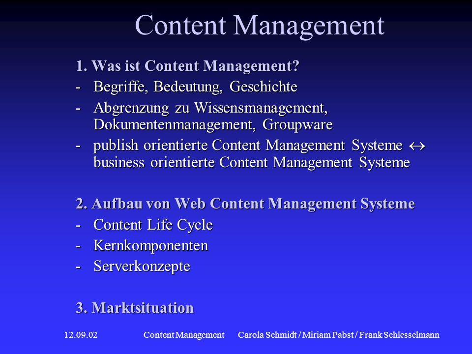 12.09.02 Content ManagementCarola Schmidt / Miriam Pabst / Frank Schlesselmann Kernkomponenten eines WCMS Aufbau WCMS Aufbau WCMS Markt- situation Markt- situation Aufbau WCMS Aufbau WCMS Was ist CM.