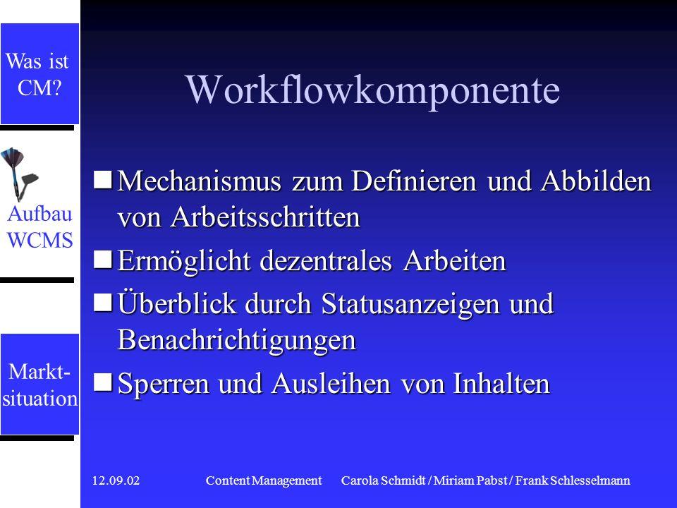 12.09.02 Content ManagementCarola Schmidt / Miriam Pabst / Frank Schlesselmann Assetmanagement Zentrale Komponente zur Administration der Inhalte Zent