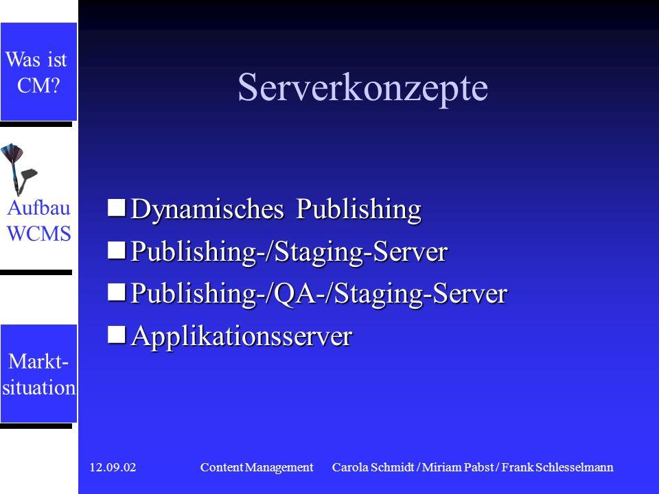 12.09.02 Content ManagementCarola Schmidt / Miriam Pabst / Frank Schlesselmann Serverkonzepte Alle Komponenten laufen auf dem Server ab Alle Komponenten laufen auf dem Server ab Doppelte Last für Server: Doppelte Last für Server: 1.Zugriffe der Mitarbeiter zur Pflege der Inhalte 2.