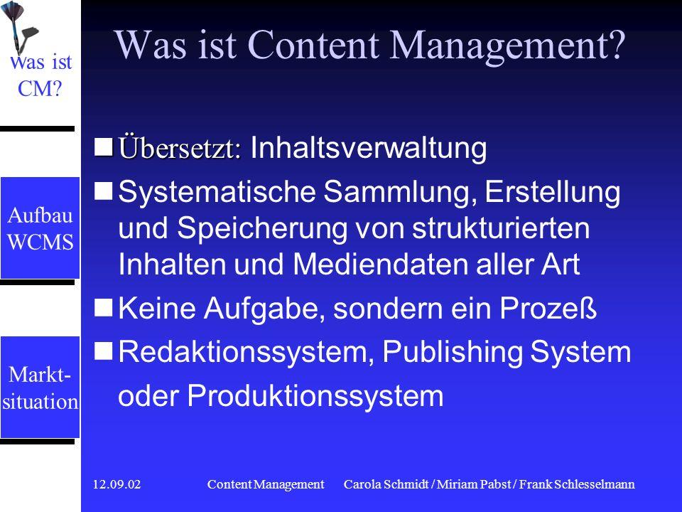 12.09.02 Content ManagementCarola Schmidt / Miriam Pabst / Frank Schlesselmann Assetmanagement Zentrale Komponente zur Administration der Inhalte Zentrale Komponente zur Administration der Inhalte Funktionen zum Verwalten, Strukturieren und Darstellen von Content Funktionen zum Verwalten, Strukturieren und Darstellen von Content Zukunft XML-Dateien generieren Zukunft XML-Dateien generieren Aufbau WCMS Aufbau WCMS Markt- situation Markt- situation Aufbau WCMS Aufbau WCMS Was ist CM.