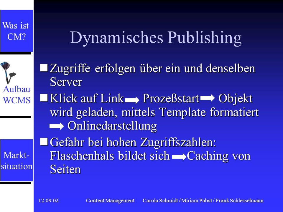 12.09.02 Content ManagementCarola Schmidt / Miriam Pabst / Frank Schlesselmann Serverkonzepte Dynamisches Publishing Dynamisches Publishing Publishing