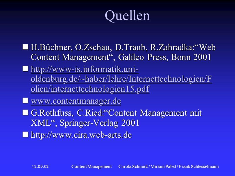 12.09.02 Content ManagementCarola Schmidt / Miriam Pabst / Frank Schlesselmann Beispiel: Cira Aufbau WCMS Aufbau WCMS Was ist CM? Was ist CM? Markt- s