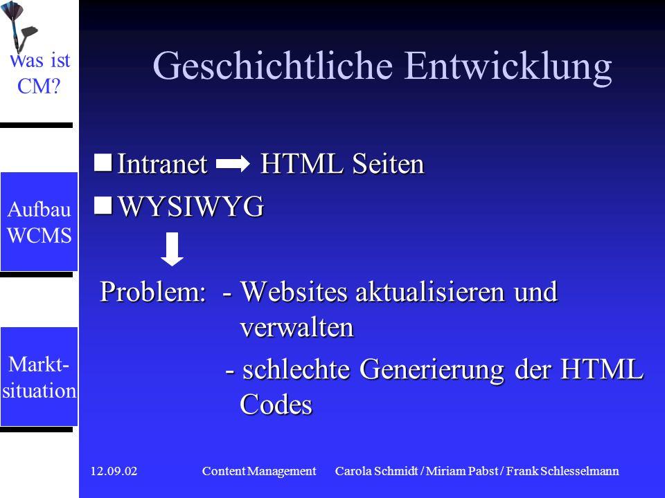 12.09.02 Content ManagementCarola Schmidt / Miriam Pabst / Frank Schlesselmann Was ist Content Management.