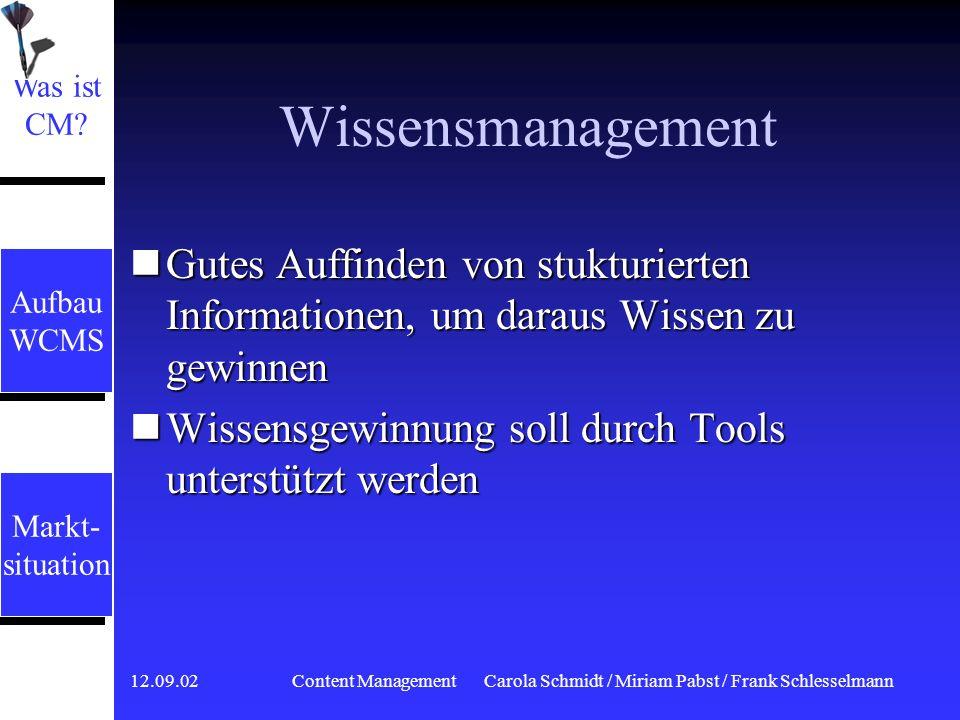 12.09.02 Content ManagementCarola Schmidt / Miriam Pabst / Frank Schlesselmann Dokumentenmanagement Volldigitalisierung von Dokumenten Volldigitalisie