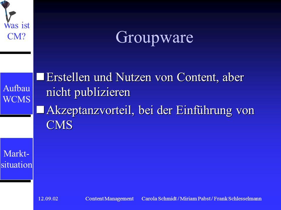 12.09.02 Content ManagementCarola Schmidt / Miriam Pabst / Frank Schlesselmann Wissensmanagement Gutes Auffinden von stukturierten Informationen, um d