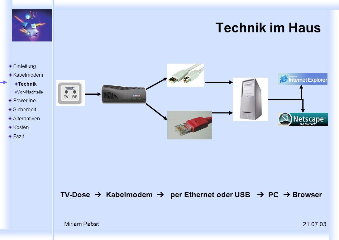 21.07.03 Miriam Pabst Technik im Haus TV-Dose Kabelmodem per Ethernet oder USB PC Browser Einleitung Kabelmodem Technik Vor-/Nachteile Powerline Siche