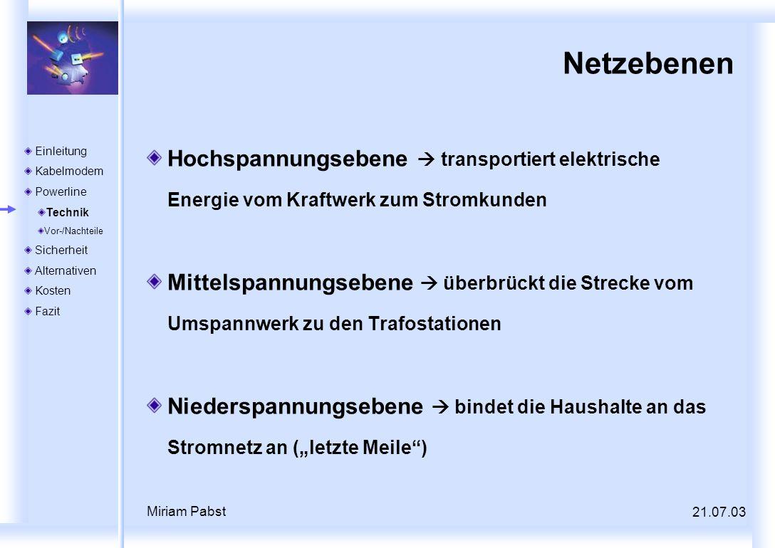 21.07.03 Miriam Pabst Netzebenen Hochspannungsebene transportiert elektrische Energie vom Kraftwerk zum Stromkunden Mittelspannungsebene überbrückt di