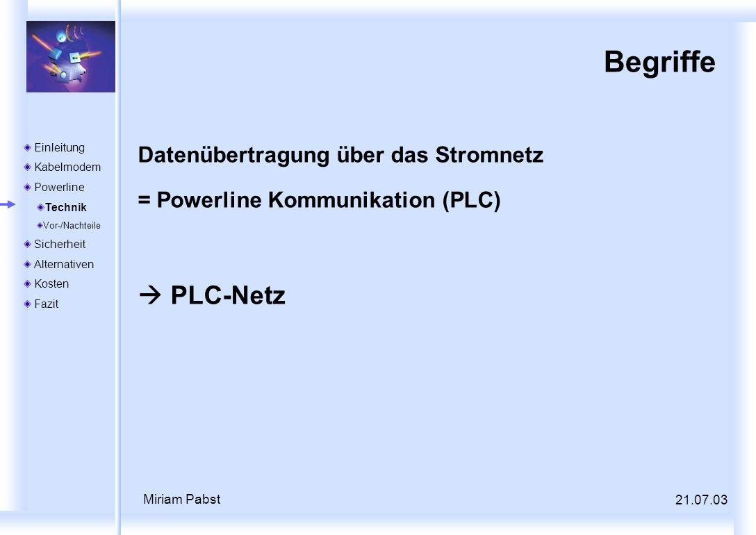 21.07.03 Miriam Pabst Begriffe Datenübertragung über das Stromnetz = Powerline Kommunikation (PLC) PLC-Netz Einleitung Kabelmodem Powerline Technik Vo