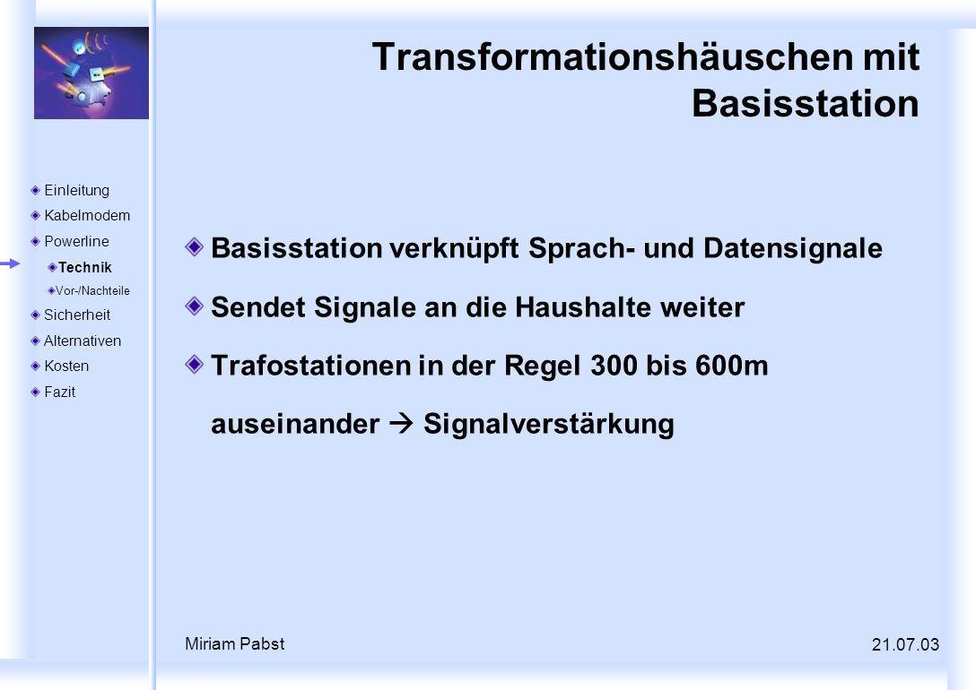 21.07.03 Miriam Pabst Transformationshäuschen mit Basisstation Basisstation verknüpft Sprach- und Datensignale Sendet Signale an die Haushalte weiter