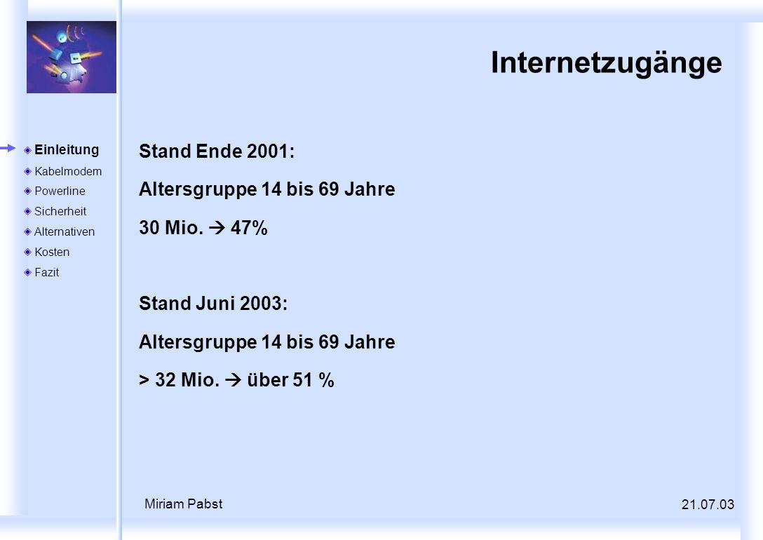 21.07.03 Miriam Pabst Internetzugänge Stand Ende 2001: Altersgruppe 14 bis 69 Jahre 30 Mio. 47% Stand Juni 2003: Altersgruppe 14 bis 69 Jahre > 32 Mio