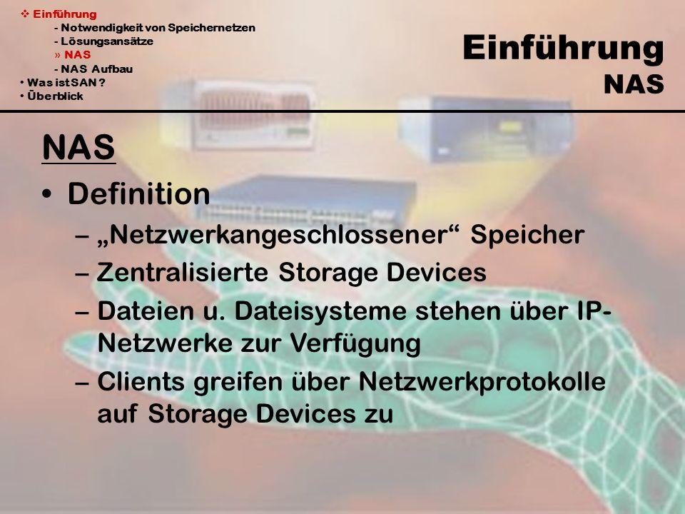Einführung - Notwendigkeit von Speichernetzen - Lösungsansätze » NAS - NAS Aufbau Was ist SAN ? Überblick Einführung NAS NAS Definition –Netzwerkanges