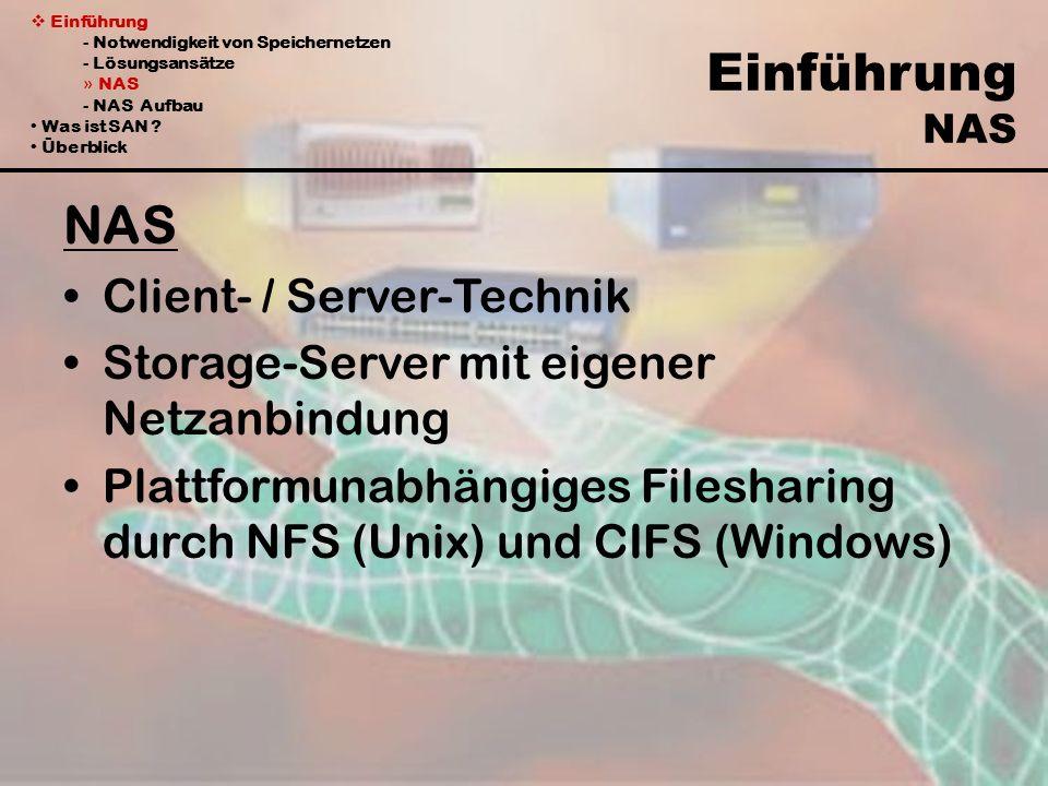 Einführung - Notwendigkeit von Speichernetzen - Lösungsansätze » NAS - NAS Aufbau Was ist SAN ? Überblick Einführung NAS NAS Client- / Server-Technik